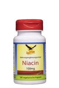 Vitamin B3 Niacin 100mg, 180 Kapseln Dose, mit Flush-Rötung