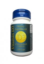 Vitamin D3 5.000 IE, natürlich, 180 vegi Kapseln